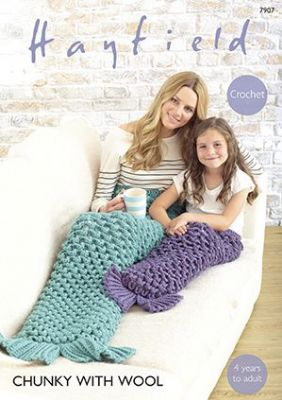 Hayfield Chunky with Wool - 7907 Mermaid Tail Crochet Pattern